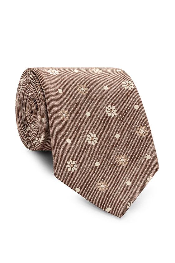 Коричневый галстук с цветочным принтом