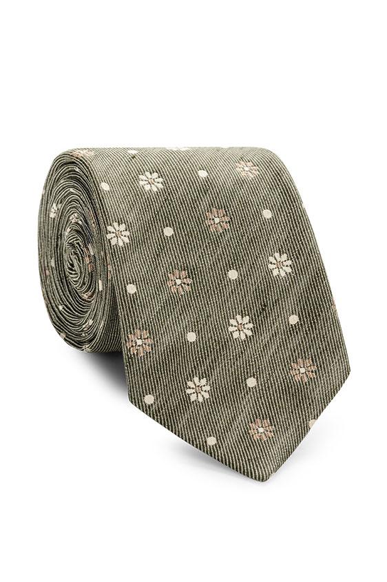 Зелёный галстук с цветочным принтом
