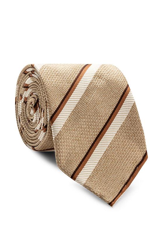 Бежевый галстук в полоску