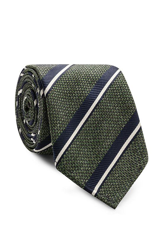 Зелёный галстук в полоску