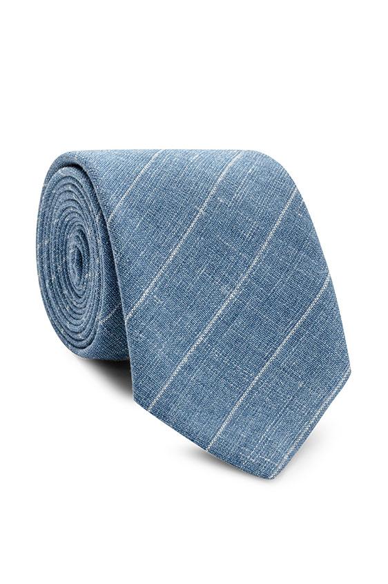 Голубой галстук в тонкую полоску