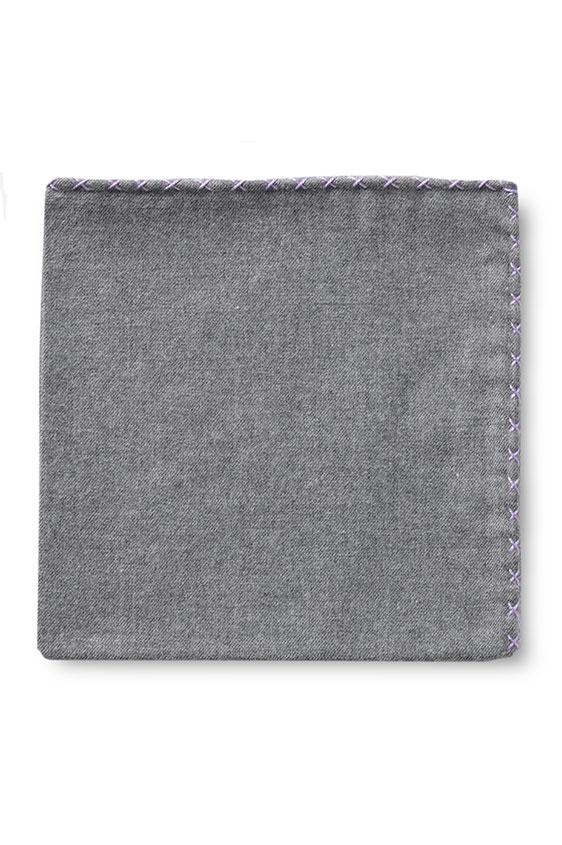 Серый нагрудный платок с фиолетовой окантовкой