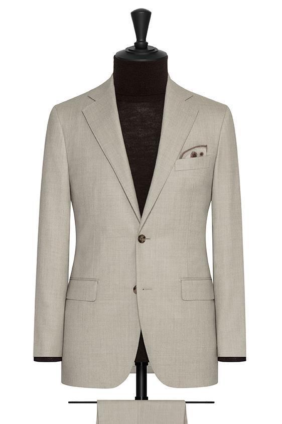 Светло-коричневый фланелевый костюм из шерсти