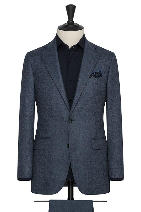 Темно-синий фланелевый костюм из шерсти