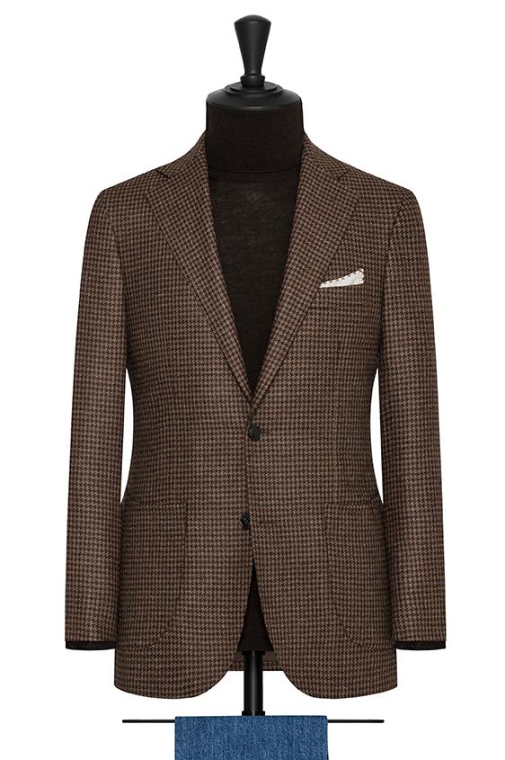 Коричневый пиджак в гусиную лапку