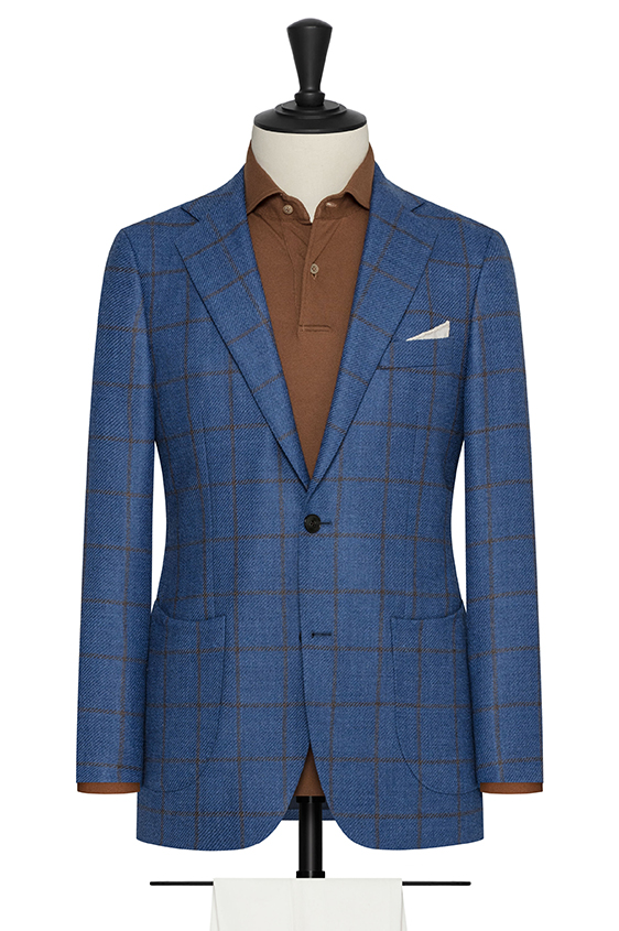 Синий пиджак в крупную коричневую клетку