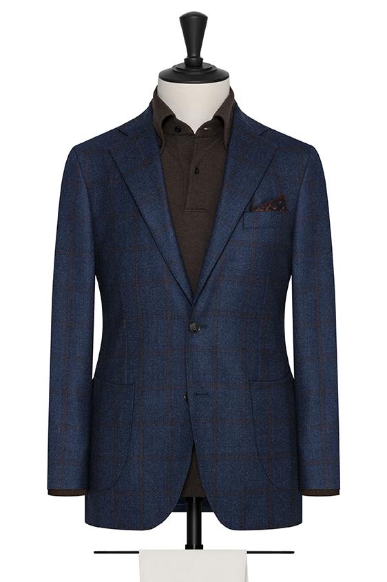 Синий пиджак в коричневую крупную клетку