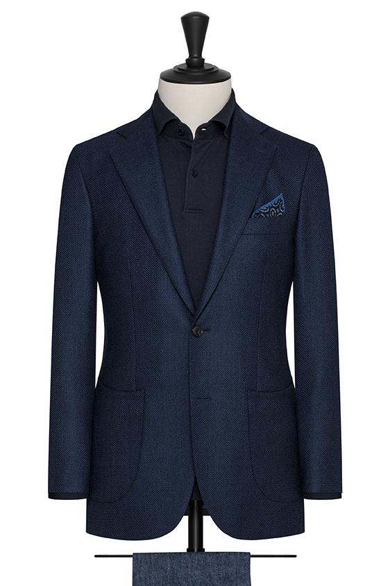 Черно-синий пиджак из шерсти