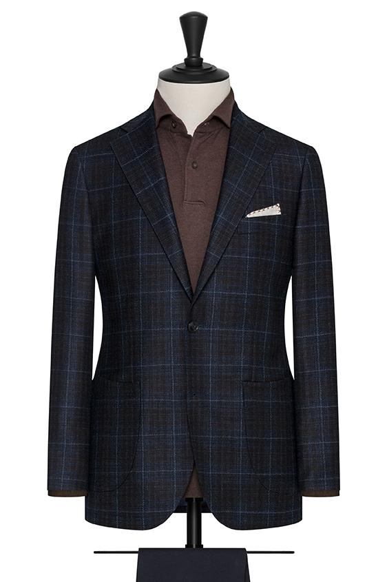 Сине-черный пиджак в коричневую клетку «Гленчек»