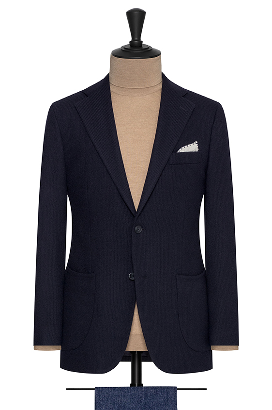 Темно-синий пиджак из шерсти и шёлка