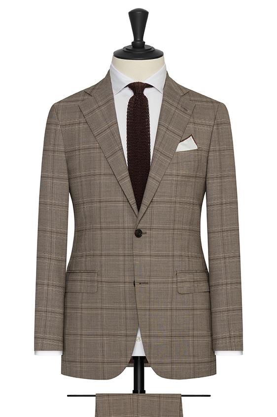 Светло-коричневый пиджак в коричневую клетку «Гленчек»